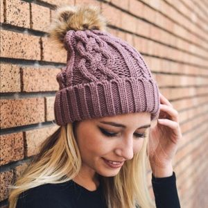 Mauve Pom Pom Vegan Friendly Winter Beanie OS